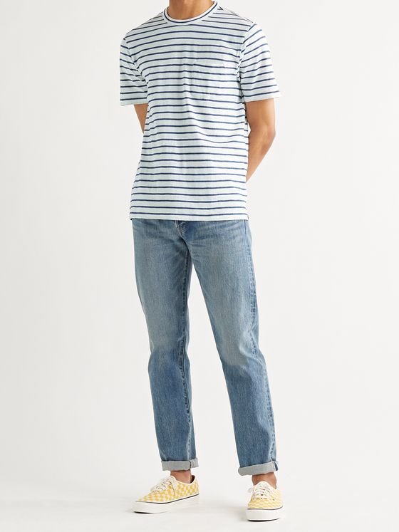 FAHERTY Indigo-Dyed Striped Cotton-Jersey T-Shirt