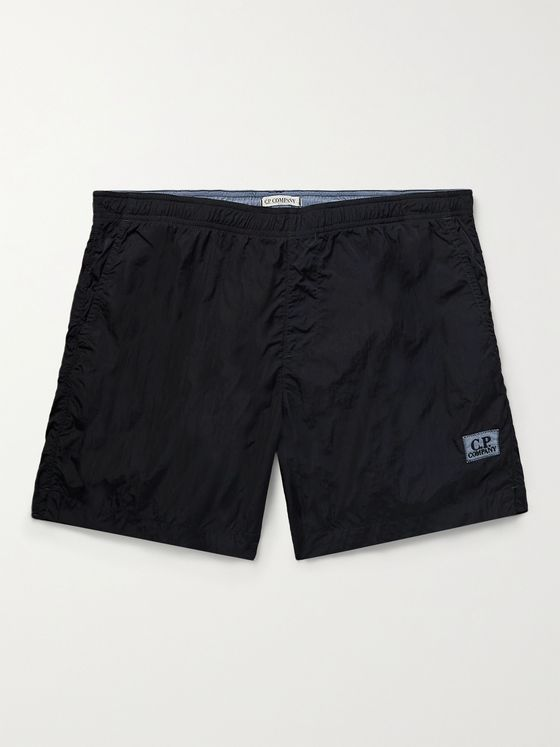 C.P. COMPANY Mid-Length Logo-Appliquéd Garment-Dyed Swim Shorts