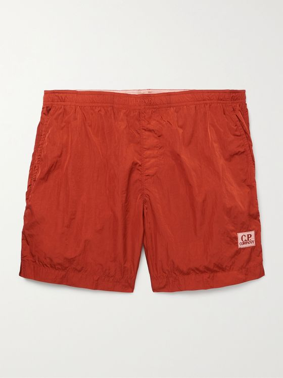 C.P. COMPANY Logo-Appliquéd Garment-Dyed Mid-Length Swim Shorts