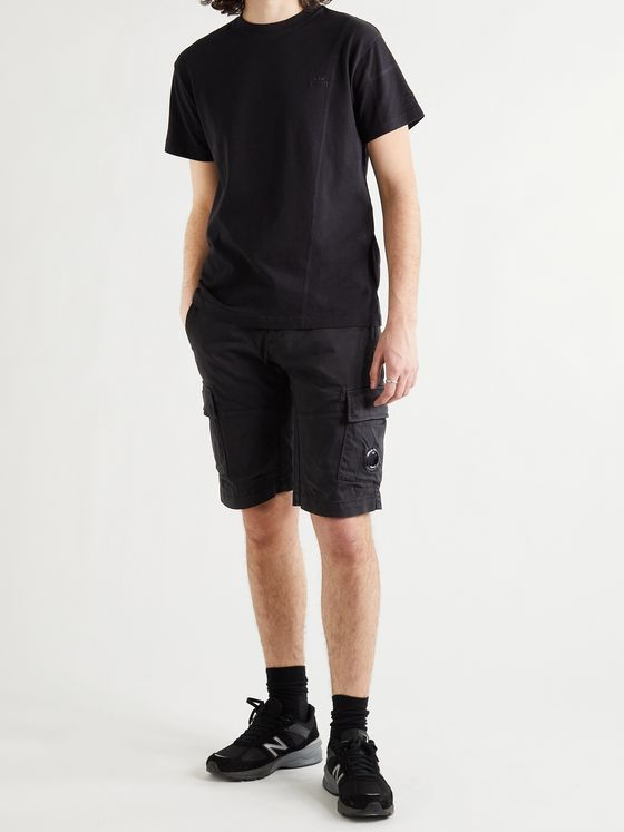 C.P. COMPANY Logo-Appliquéd Garment-Dyed Cotton-Blend Cargo Shorts