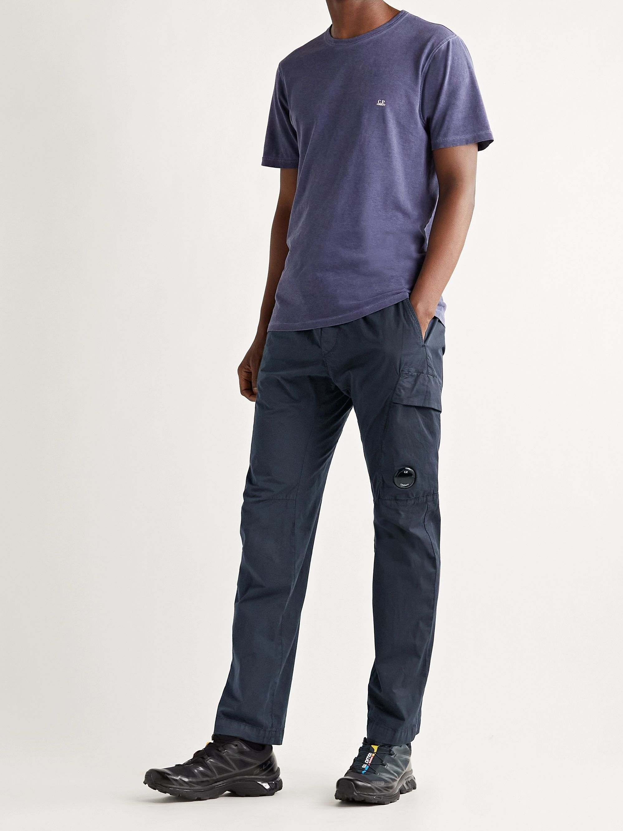 C.P. COMPANY Garment-Dyed Logo-Appliquéd Stretch-Cotton Cargo Trousers