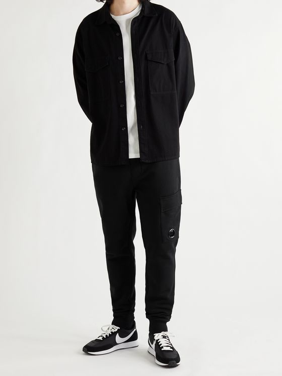 C.P. COMPANY Slim-Fit Tapered Logo-Appliquéd Fleece-Back Cotton-Jersey Cargo Sweatpants