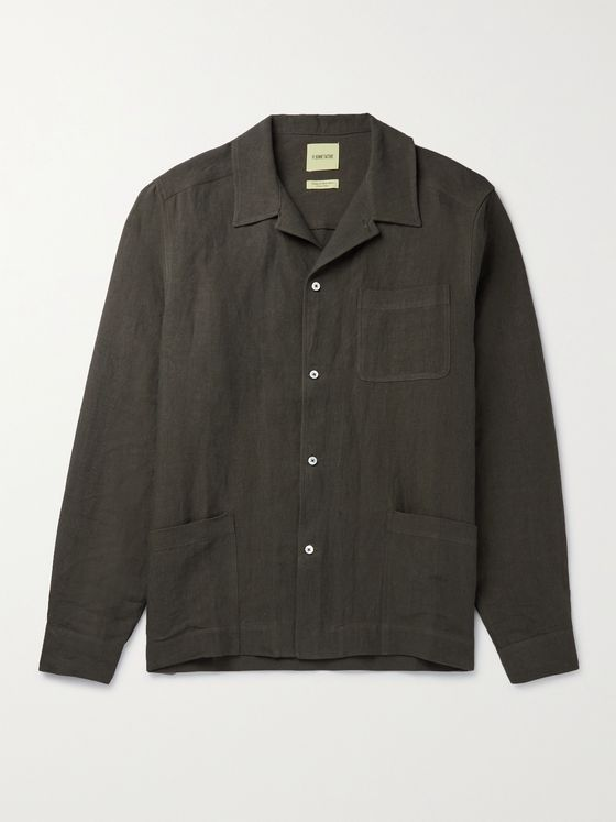 DE BONNE FACTURE Camp-Collar Washed-Linen Shirt Jacket