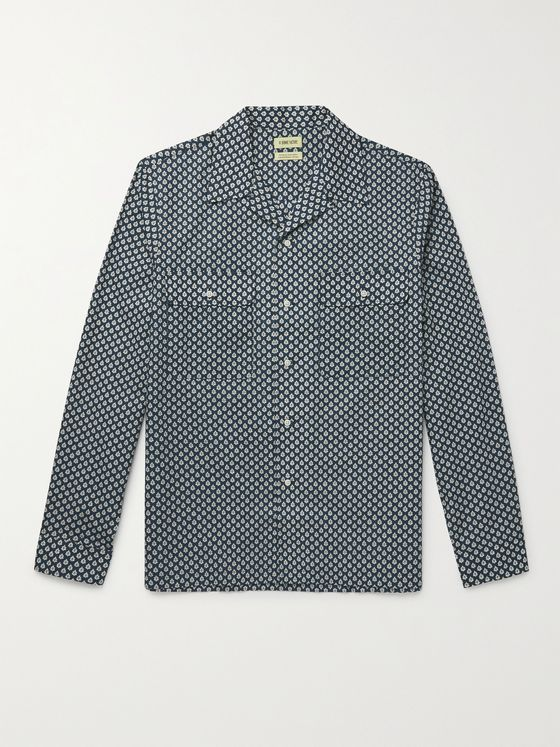 DE BONNE FACTURE Camp-Collar Printed Cotton-Voile Shirt