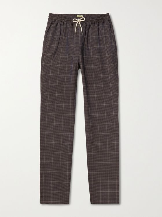 DE BONNE FACTURE Checked Wool and Linen-Blend Drawstring Trousers