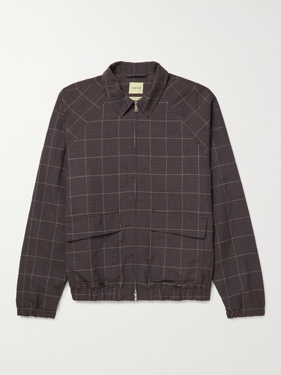 DE BONNE FACTURE Checked Wool and Linen-Blend Jacket