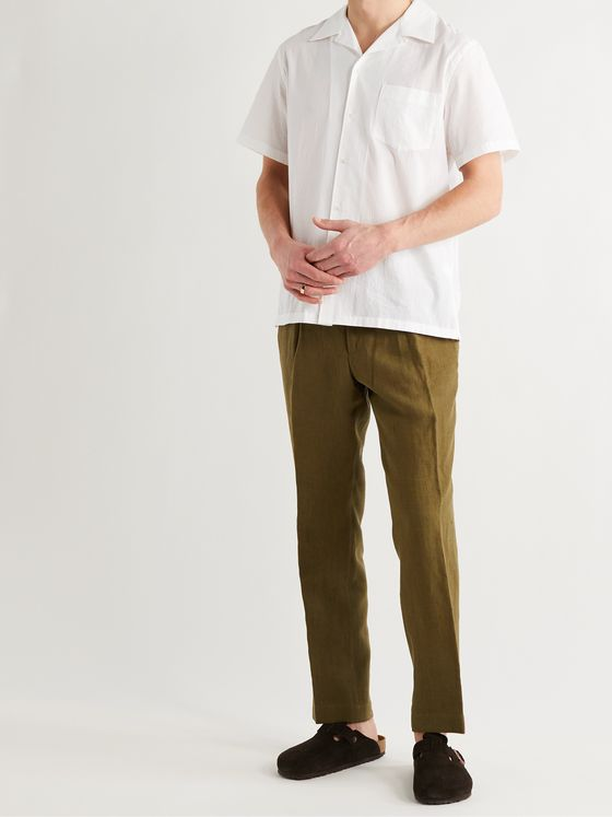 DE BONNE FACTURE Camp-Collar Cotton-Voile Shirt
