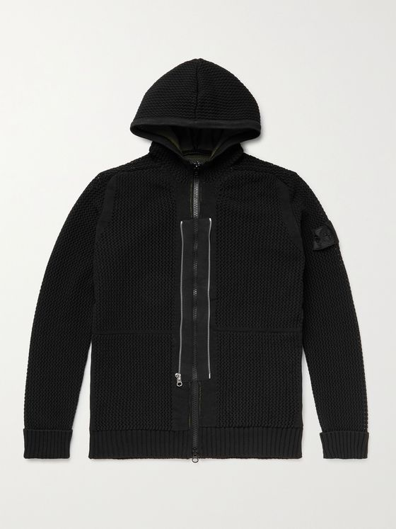 STONE ISLAND SHADOW PROJECT Logo-Appliquéd Open-Knit Cotton Hoodie