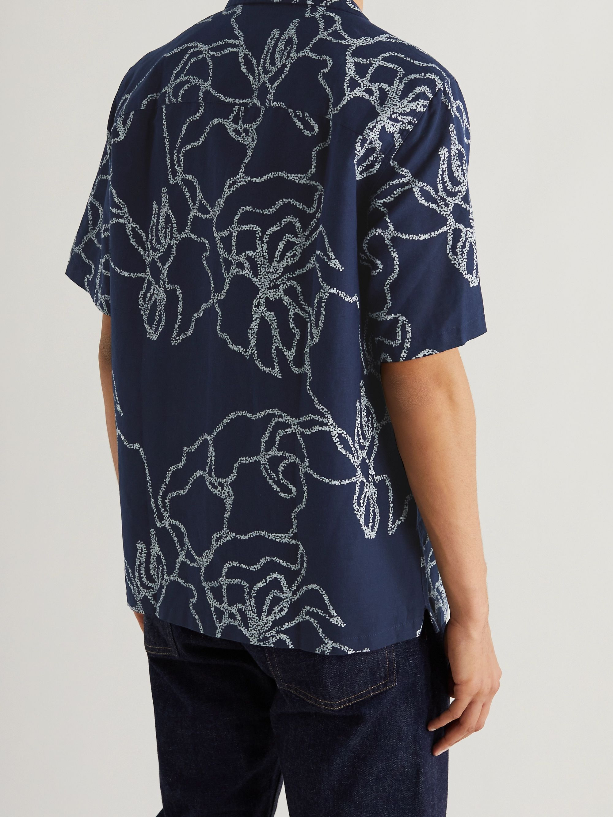 EDWIN Enitsuj Camp-Collar Printed Linen and Cotton-Blend Shirt