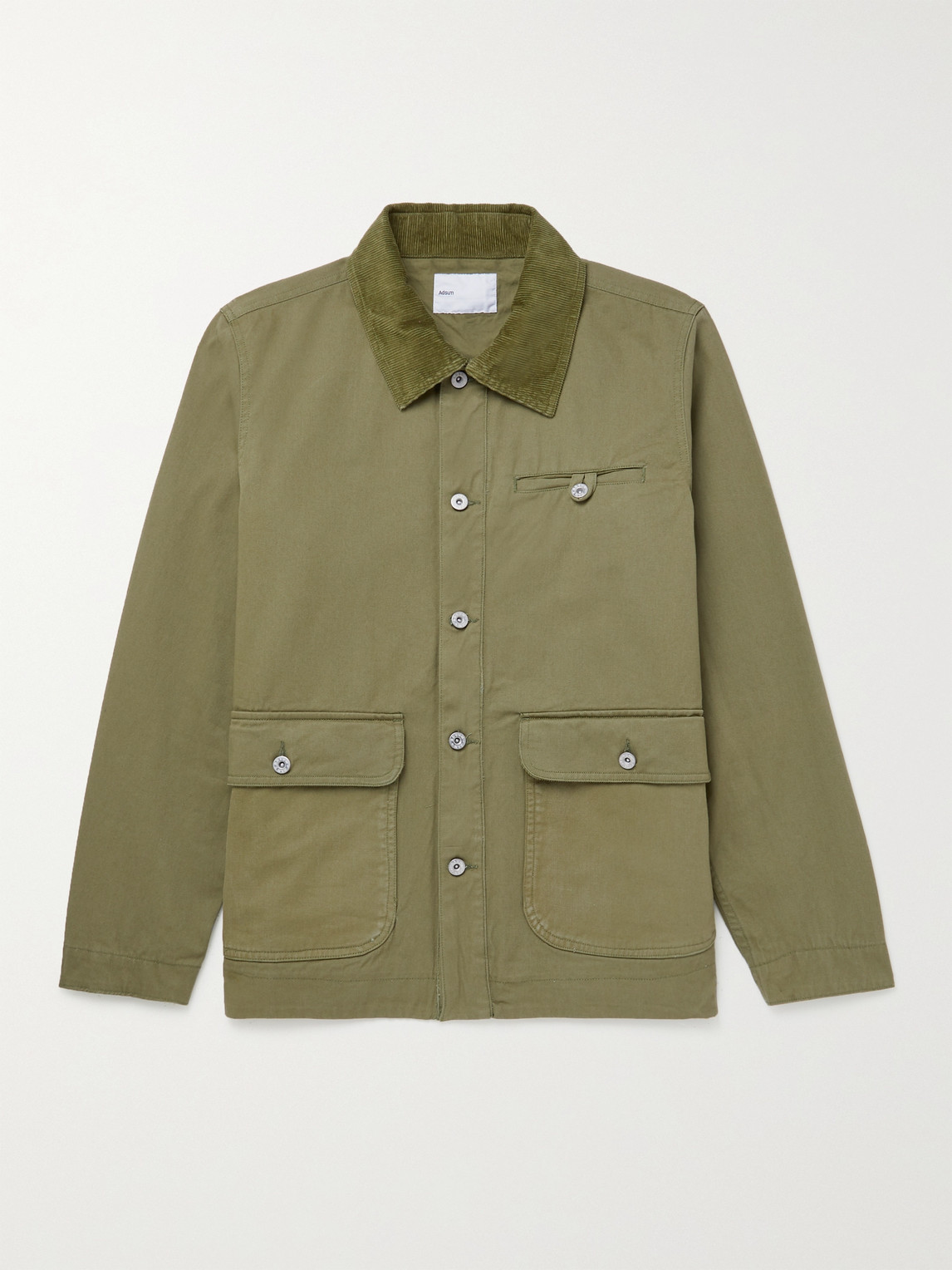 Adsum Corduroy-trimmed Cotton-twill Chore Jacket In Green