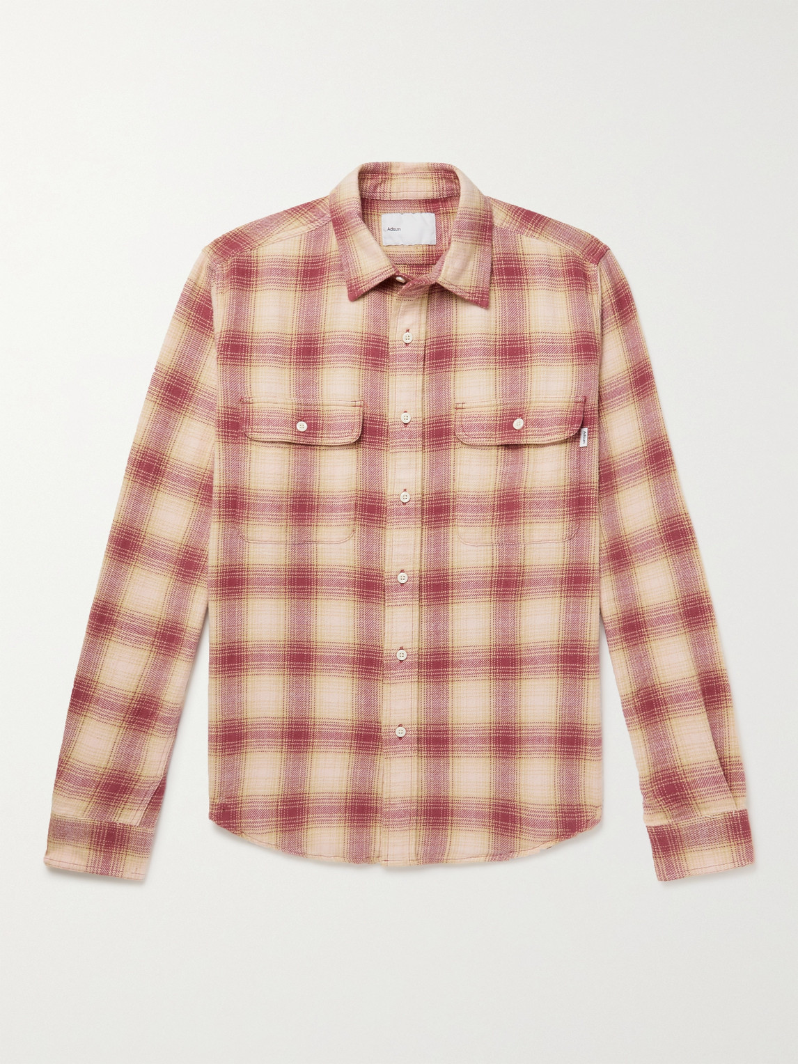 Adsum Seasonal Shadow Checked Cotton-flannel Shirt In Pink