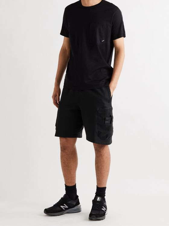 Stone Island Shadow Project Wide-Leg Logo-Appliquéd Corduroy-Panelled Cotton Cargo Shorts