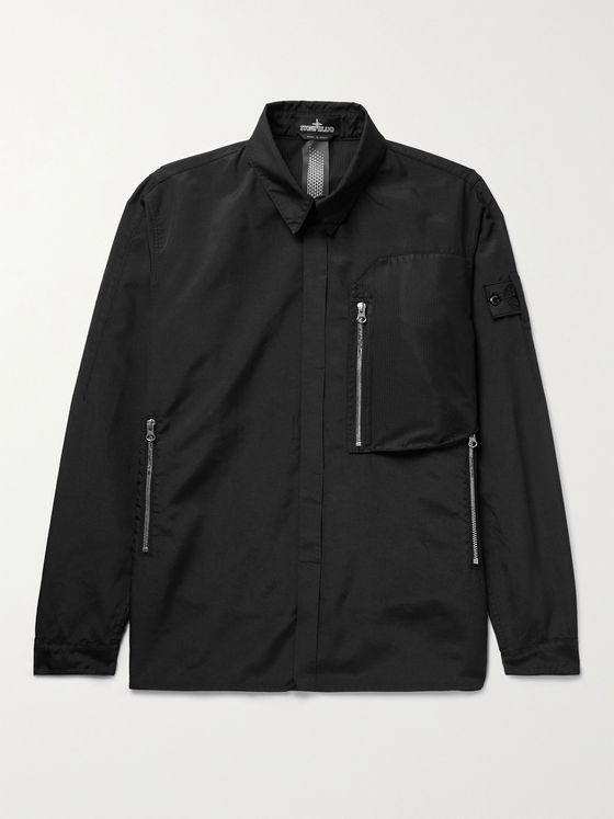 STONE ISLAND SHADOW PROJECT Logo-Appliquéd Mesh-Trimmed Shell Overshirt