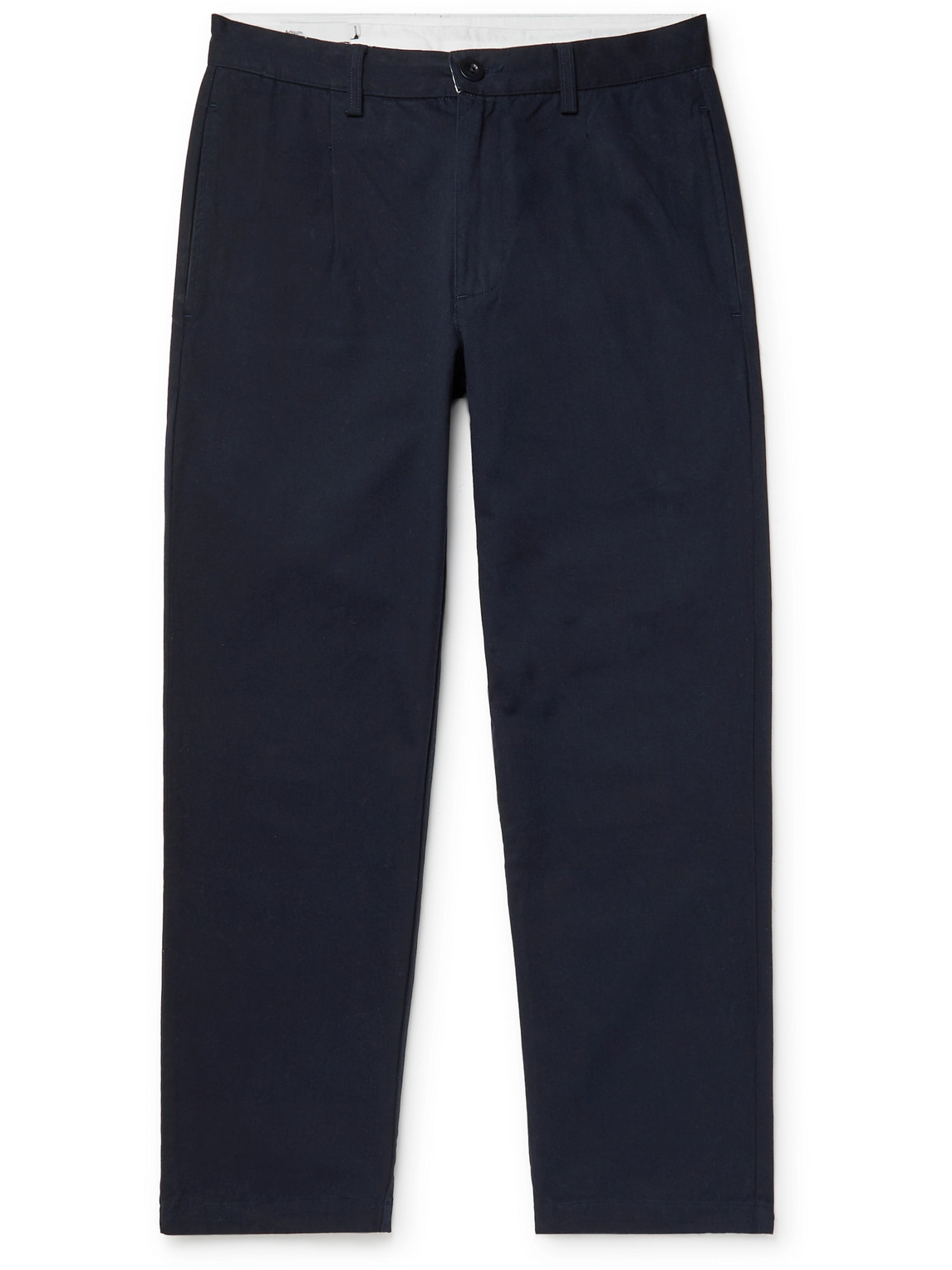 Adsum Hogan Garment-dyed Cotton-twill Trousers In Blue