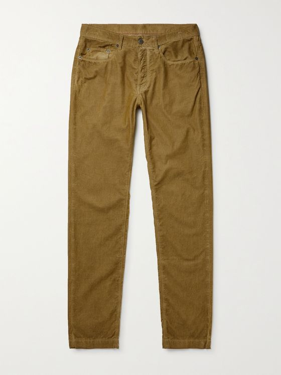 MASSIMO ALBA Slim-Fit Watercolour-Dyed Cotton-Corduroy Trousers