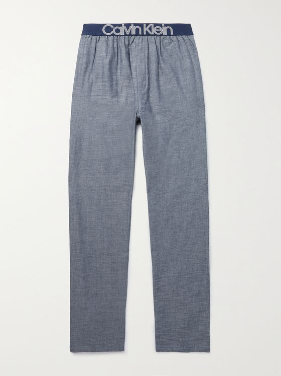 CALVIN KLEIN UNDERWEAR Cotton-Chambray Pyjama Trousers