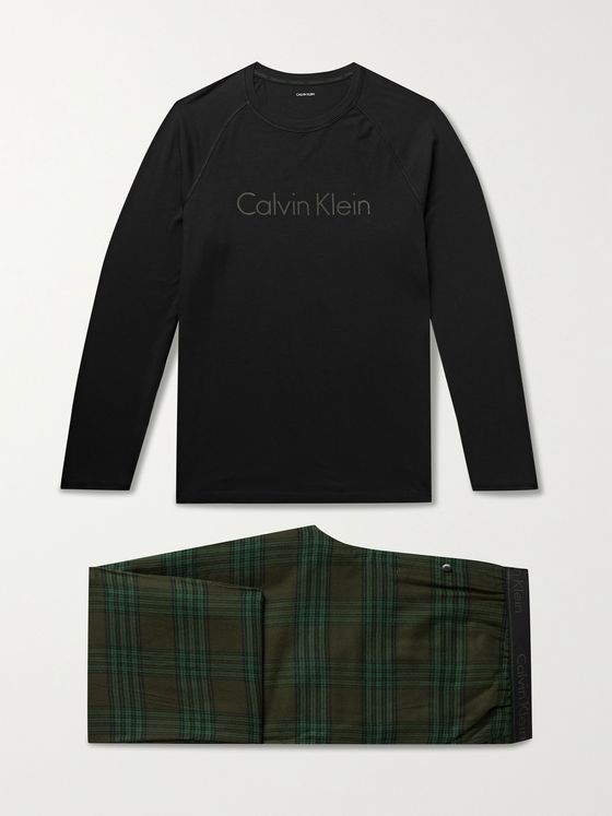 CALVIN KLEIN UNDERWEAR Logo-Print Stretch Cotton-Jersey and Checked Cotton-Blend Flannel Pyjama Set