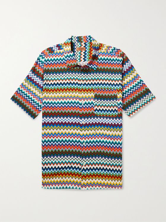 MISSONI Convertible-Collar Printed Woven Shirt