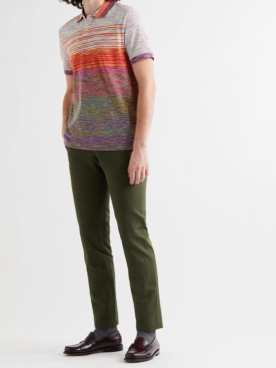 MISSONI Striped Space-Dyed Crochet-Knit Cotton Polo Shirt