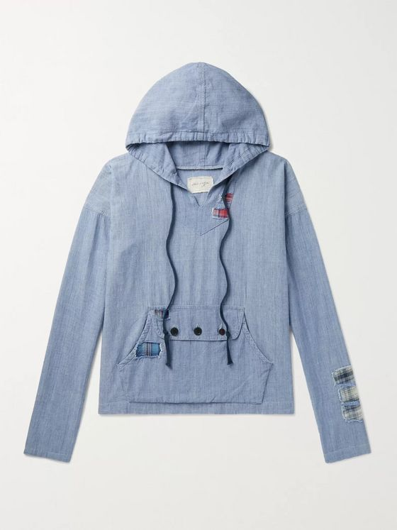 Greg Lauren Distressed Patchworked Cotton-Chambray Hoodie