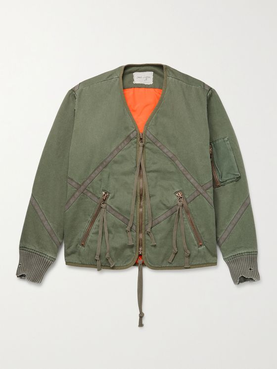 GREG LAUREN Distressed Quilted Cotton Jacket