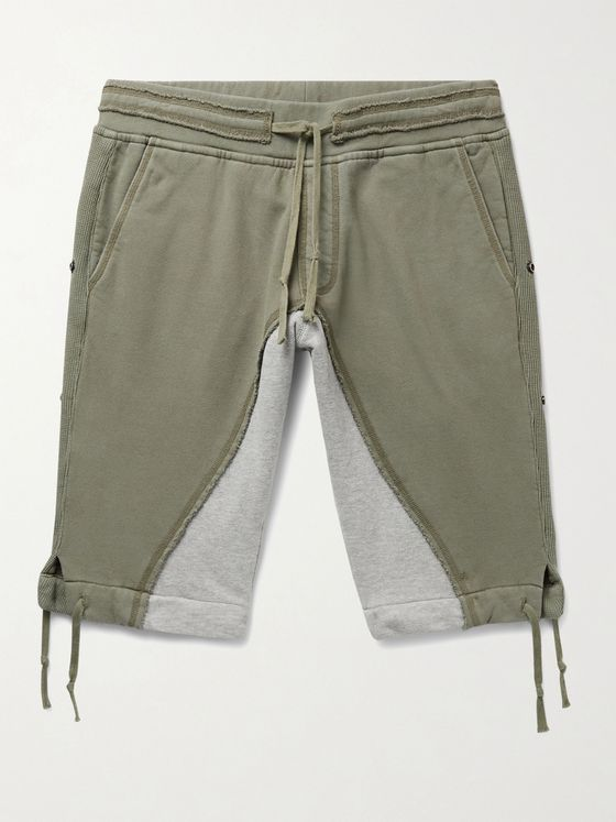 Greg Lauren Tapered Panelled Loopback Cotton-Jersey Drawstring Shorts