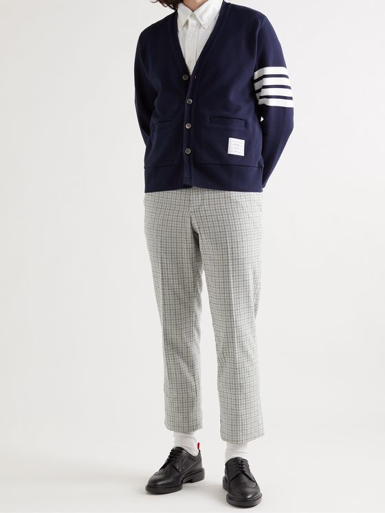 THOM BROWNE Checked Cotton-Blend Bouclé Chinos