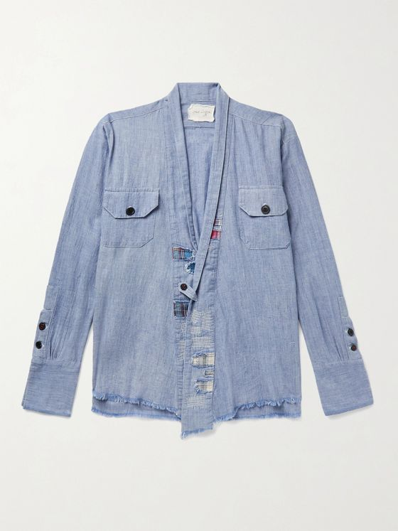 GREG LAUREN Distressed Patchwork Cotton-Chambray Shirt Jacket