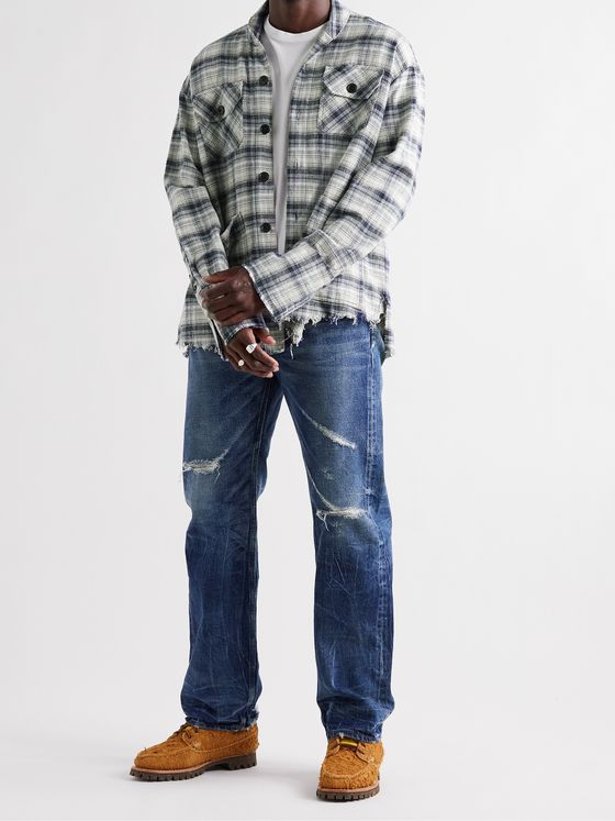 GREG LAUREN River Shawl-Collar Distressed Checked Cotton-Flannel Shirt