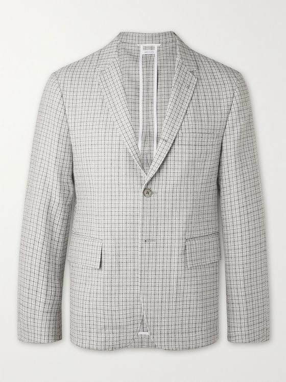 THOM BROWNE Slim-Fit Unstructured Checked Cotton-Blend Bouclé Blazer