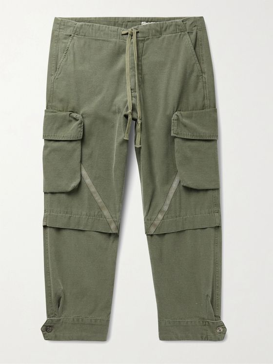 GREG LAUREN Baker Cropped Tapered Slub Cotton Drawstring Cargo Trousers