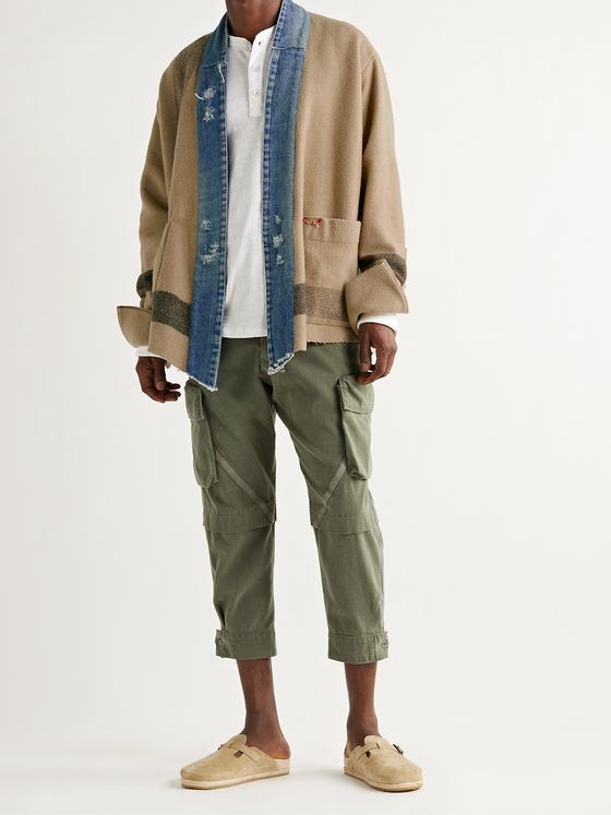 GREG LAUREN Shawl-Collar Distressed Denim-Trimmed Wool-Blend Jacket