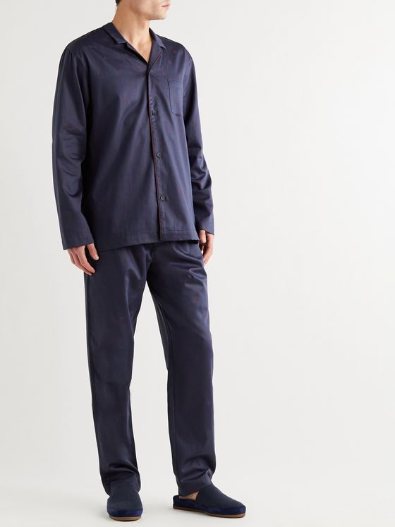 Hanro Leano Camp-Collar Piped Cotton-Jacquard Pyjama Set