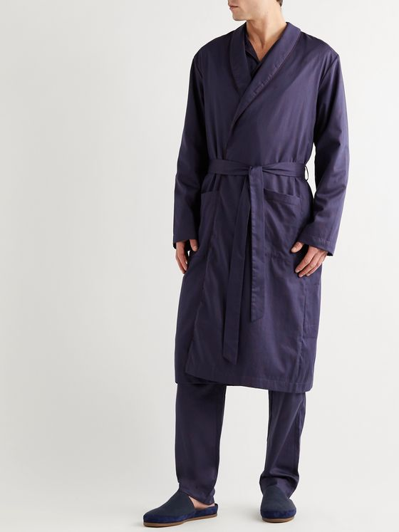 Hanro Leano Piped Cotton-Jacquard Robe
