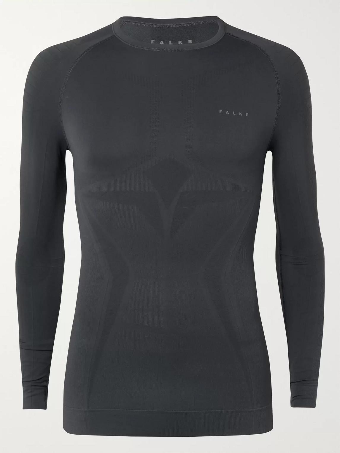 Falke Maximum Warm Stretch Tech-jersey T-shirt In Gray