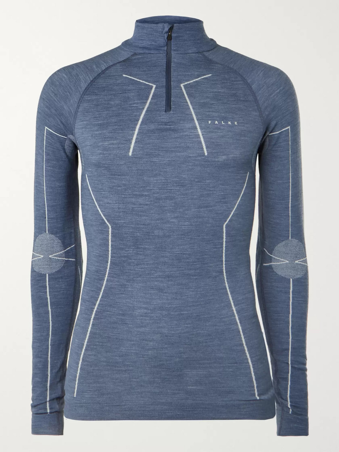 falke ergonomic sport system - stretch virgin wool-blend half-zip base layer - men - blue