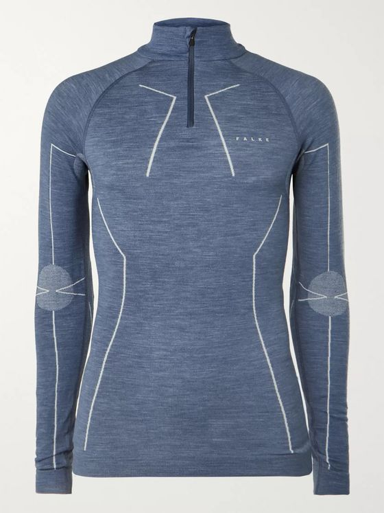FALKE Ergonomic Sport System Stretch Tech Merino Wool-Blend Half-Zip Top