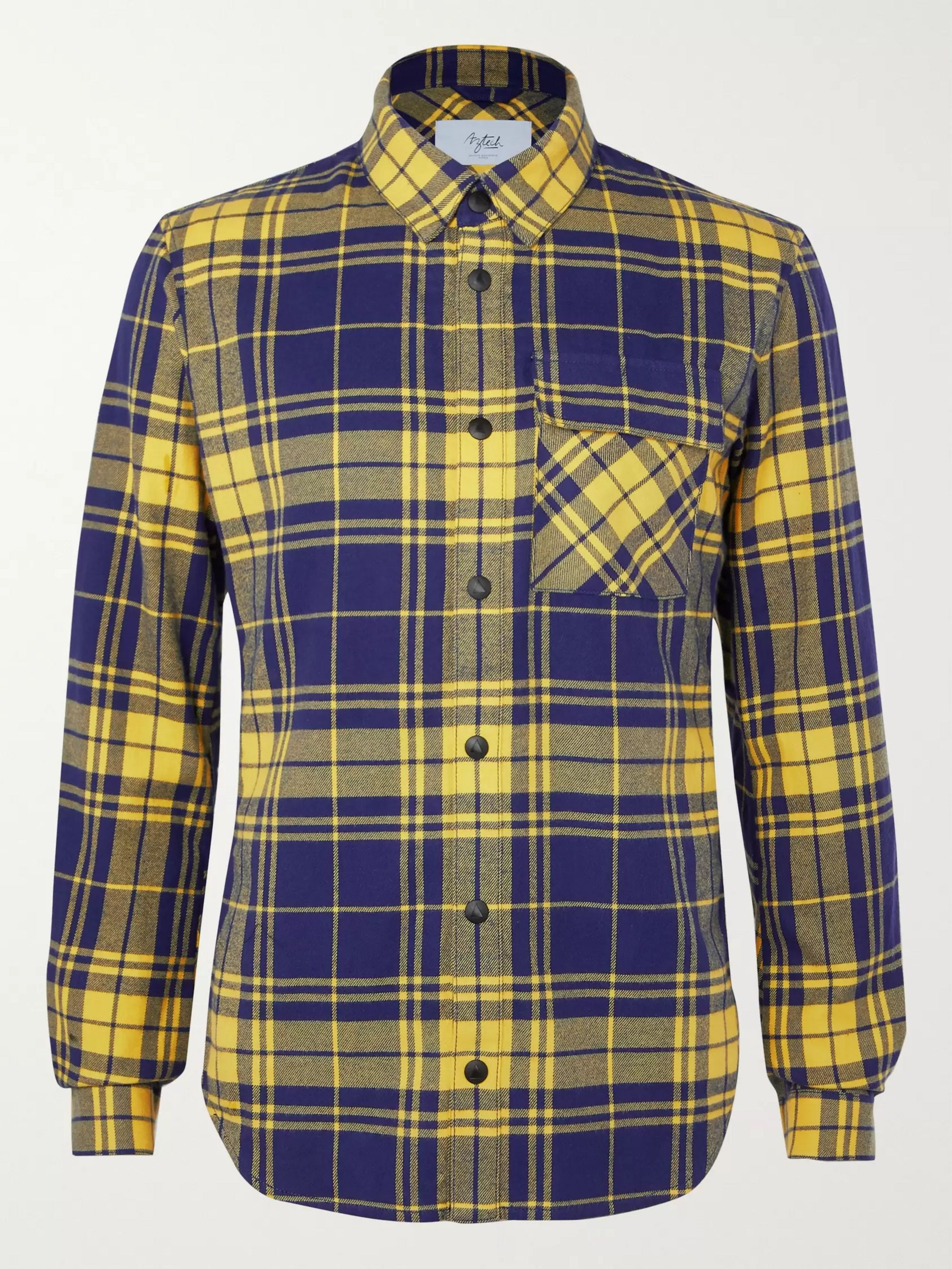 Aztech Mountain Loge Peak Shell-Panelled Checked Brushed Cotton-Flannel Shirt