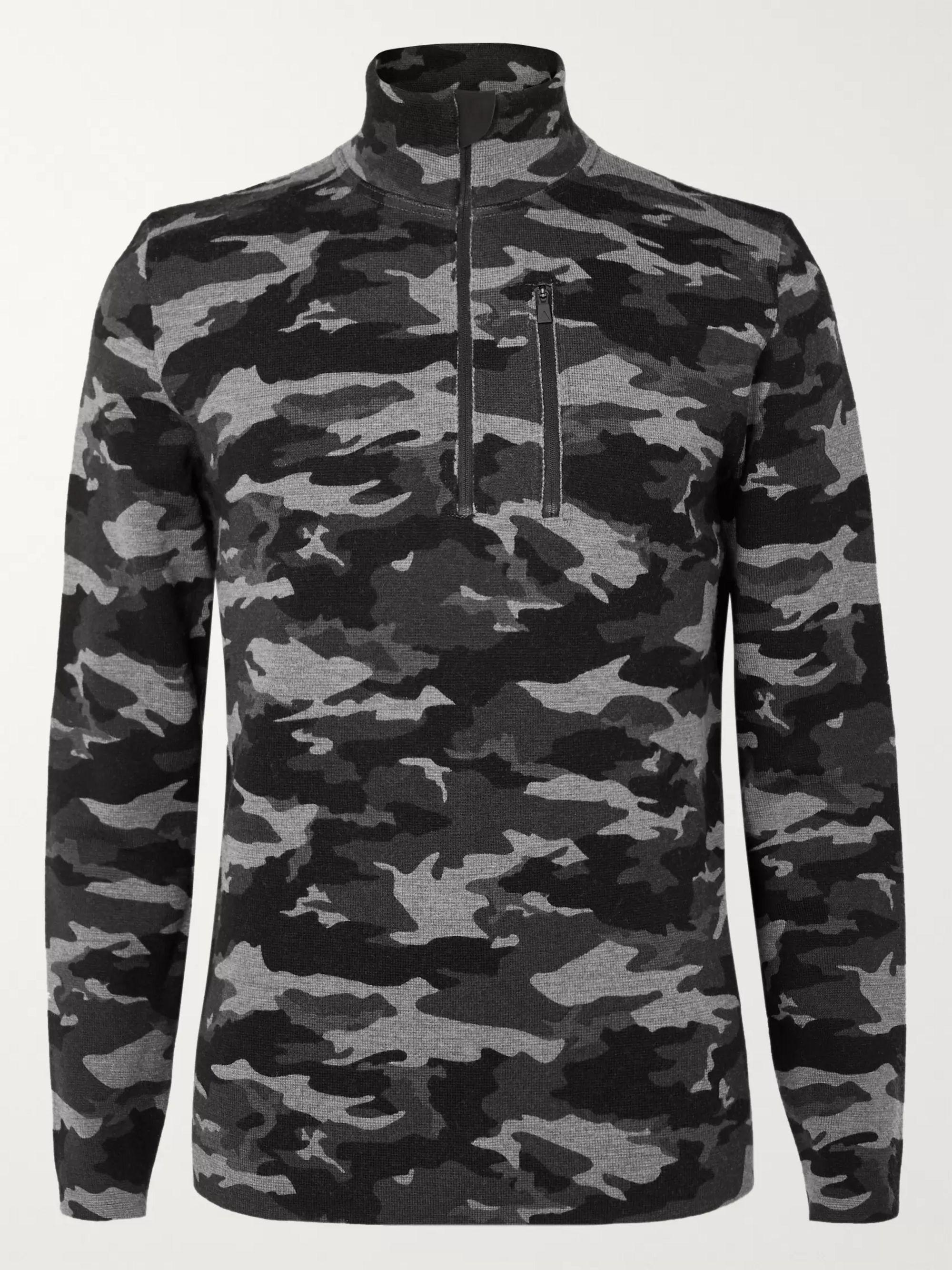 Gray Matterhorn Nylon-Panelled Camouflage-Print Merino Wool Base Layer | Aztech Mountain | MR PORTER