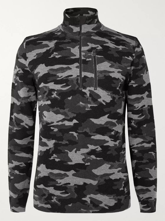 Aztech Mountain Matterhorn Shell-Panelled Camouflage-Print Wool Half-Zip Base Layer