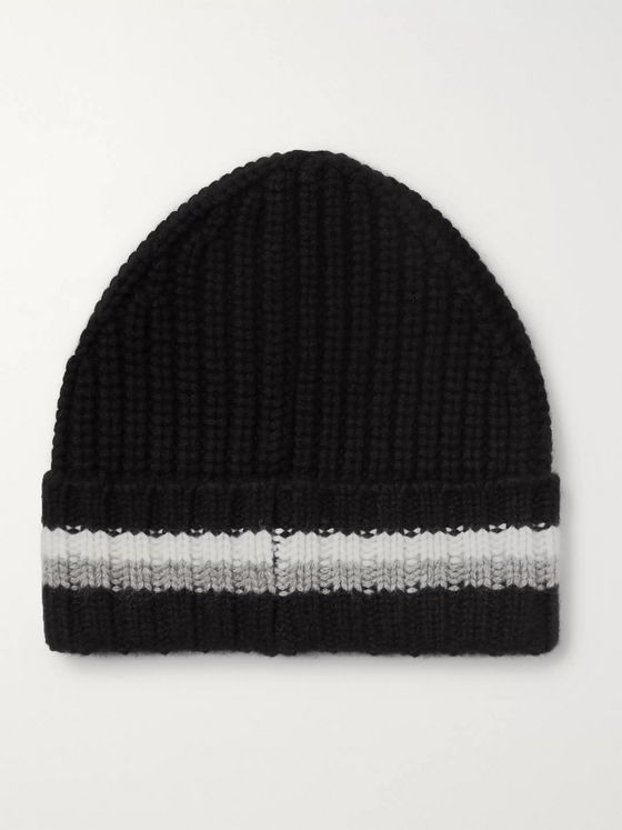 Bogner Mero Striped Ribbed Cashmere Beanie