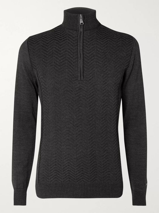 Kjus Linard Mélange Wool-Blend Half-Zip Sweater