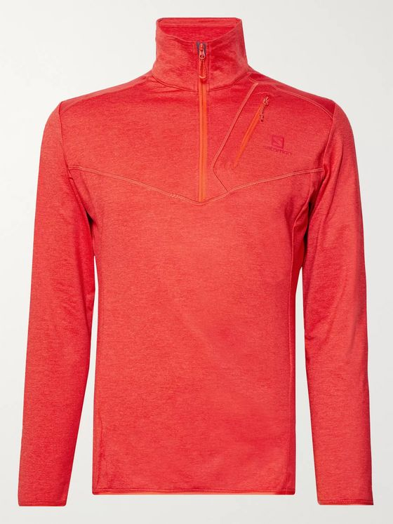 SALOMON Discovery Mélange Stretch-Jersey Half-Zip Mid-Layer