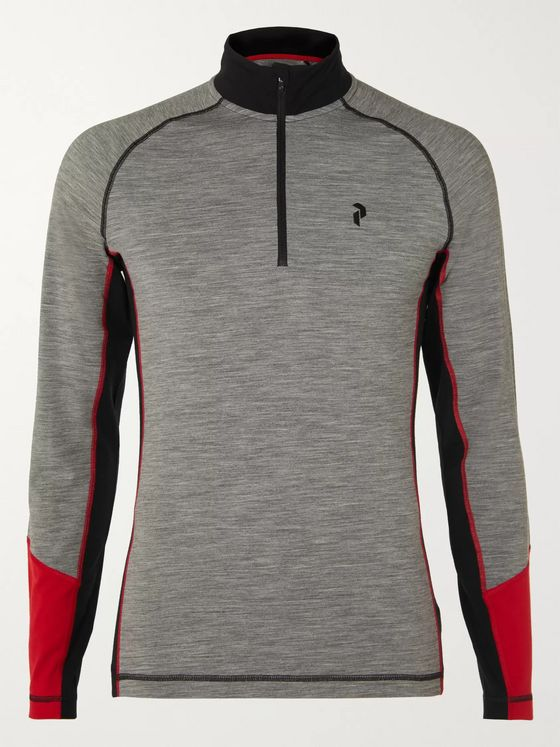 Peak Performance Colour-Block Magic Merino Wool-Blend Half-Zip Base Layer