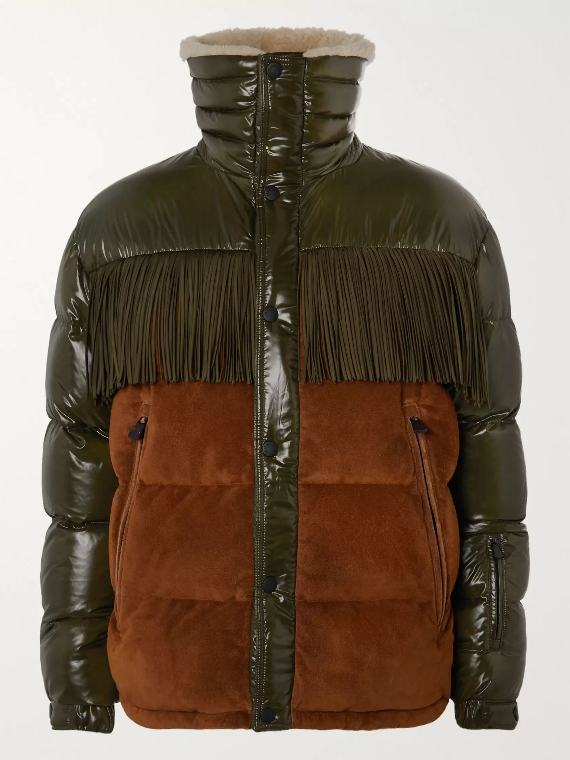 Moncler Genius Faux Shearling-Lined Fringed Suede-Panelled Ski Jacket