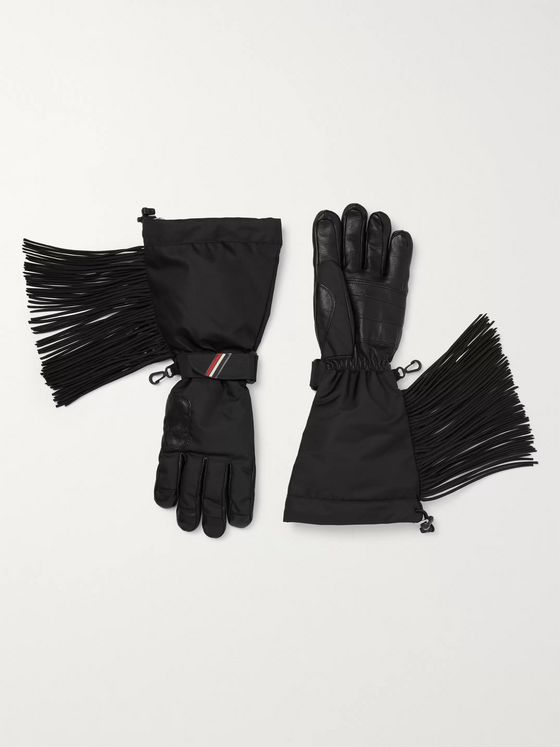 Moncler Genius 3 Grenoble Leather-Trimmed Shell Tasselled Gloves