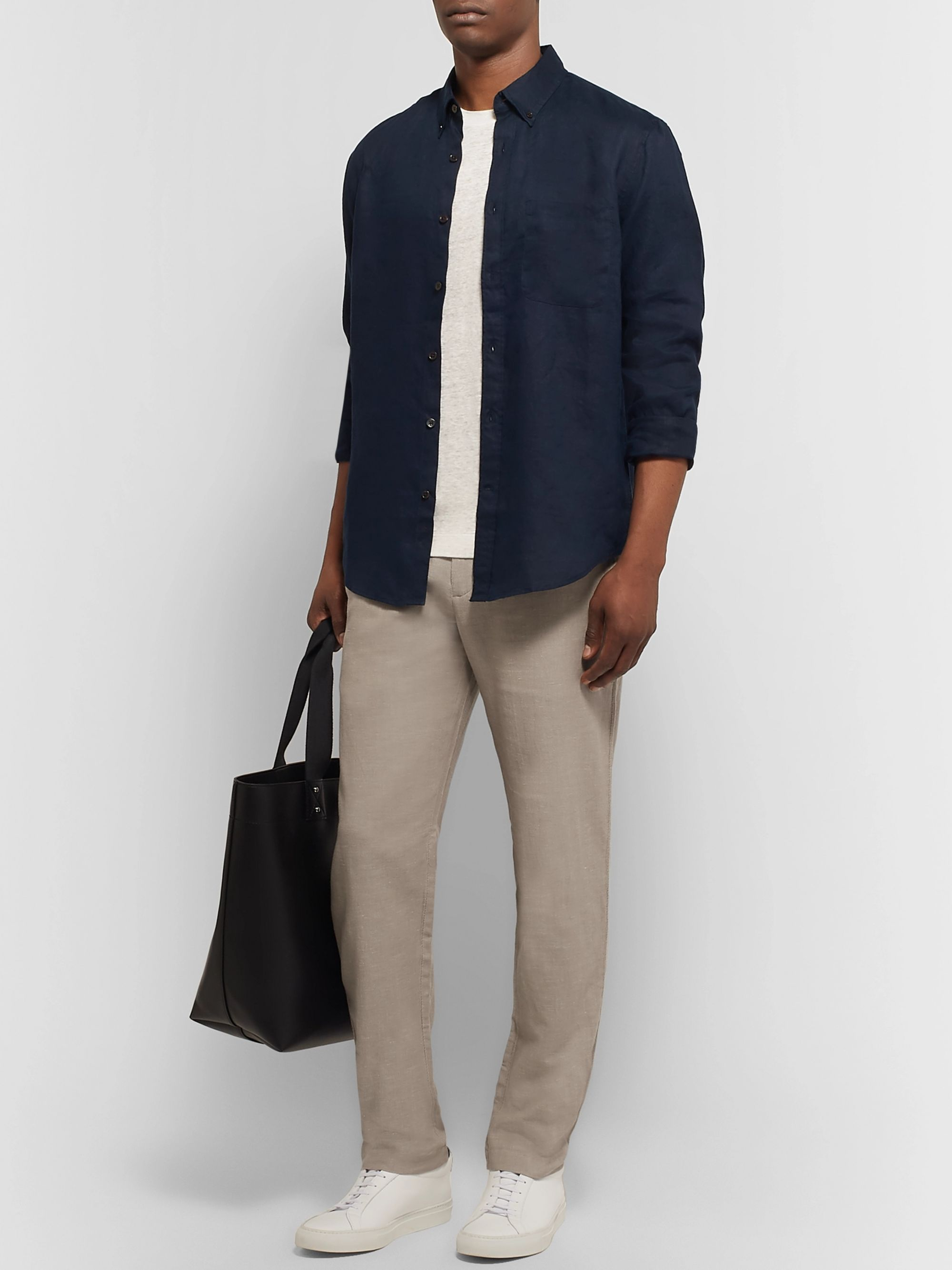 Club Monaco Slim-Fit Stretch Cotton and Linen-Blend Drawstring Trousers
