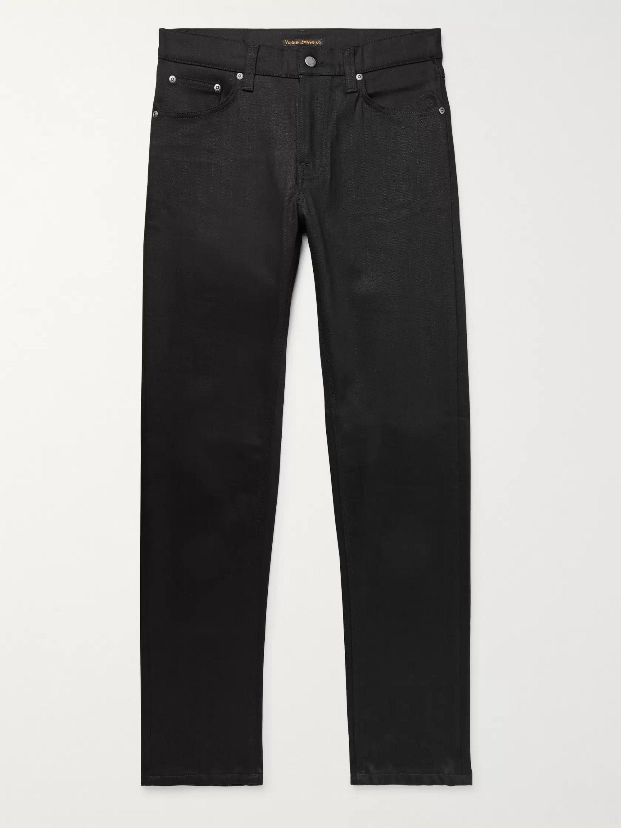 Nudie Jeans Black Steady Eddie II Slim-Fit Tapered Organic Stretch-Denim Jeans,Black