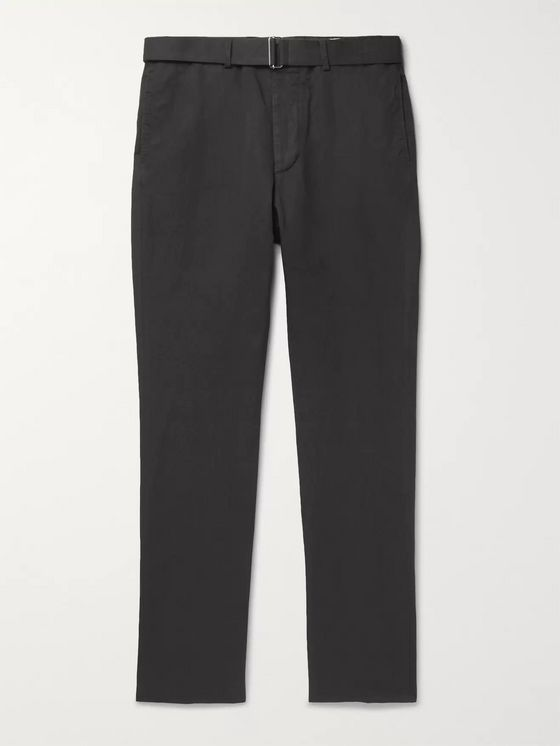 Officine Generale Charcoal Paul Tapered Garment-Dyed Cotton and Linen-Blend Trousers