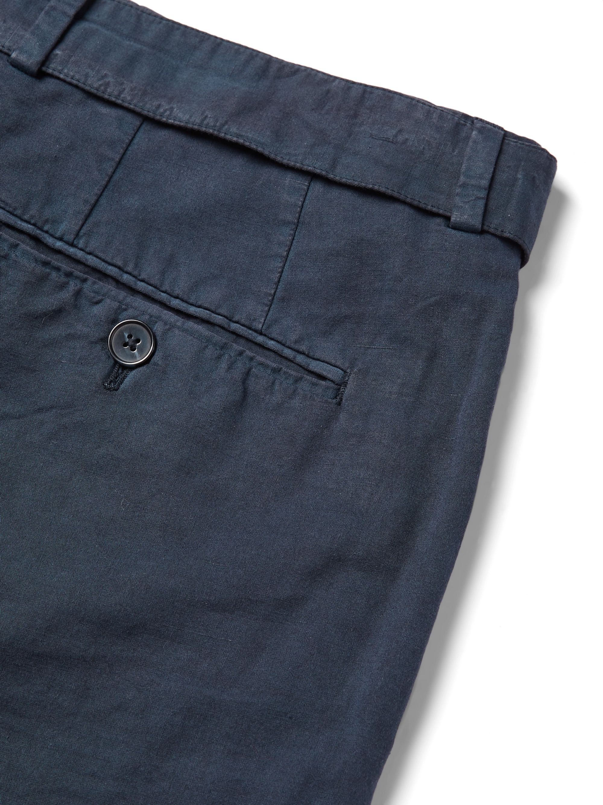 Officine Generale Navy Paul Garment-Dyed Cotton and Linen-Blend Trousers